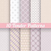 Stock Illustration of Tender loving wedding vector seamless patterns (tiling).
