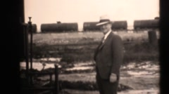 1938 oil drilling , petroleum, big money man Stock Footage