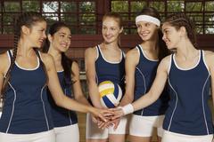 Five young women taking an oath Stock Photos