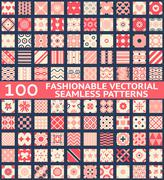 Fashionable vintage vector seamless patterns - stock illustration