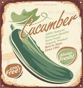 Vintage poster design with cucumber Stock Illustration