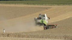 Combine harvester at work - stock footage