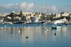 Sailboats at the marina, Valletta - Malta - stock photo