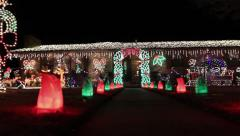 Christmas lights in a yard Stock Footage