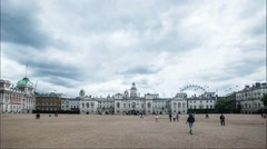 Timelapse - Locals and tourists cross the Horse Guards Parade ground Stock Footage
