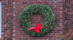 Christmas wreath in the snow Stock Footage
