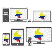Electronic devices with the map of colombian Stock Illustration