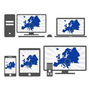 Electronic devices with the map of europe Stock Illustration