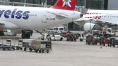 Unloading of the aircraft  after landing Stock Footage