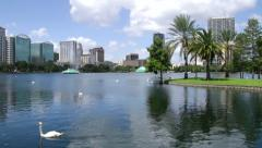 Lake Eola Park Downtown Orlando Florida Stock Footage