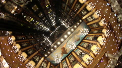 Creative spinning shot of cruise ship lobby elevator area Stock Footage