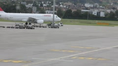 Passenger turbojet aircraft  taxiing to takeoff Stock Footage