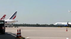 Busy life of Dusseldorf international airport. Germany Stock Footage
