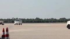 Passenger turbojet aircraft landing Stock Footage