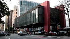 Traffic timelapse, Sao Paulo, Brazil - MASP Building,The Sao Paulo Museum of Art Stock Footage