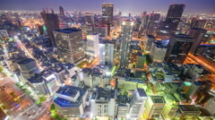 Osaka, Japan Cityscape in Umeda District Stock Footage