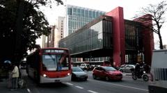 Traffic timelapse, Sao Paulo, Brazil -MASP Building, The Sao Paulo Museum of Art Stock Footage