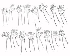 Set of hands in many gesture Stock Illustration