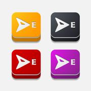 square button: compass - stock illustration