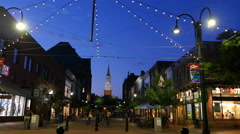 Downtown Burlington Vermont At Night Stock Footage