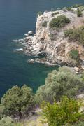 view of aegean sea from st archangel monastery - thassos island, greece - stock photo