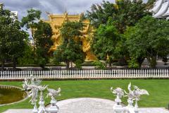 Wat Rong Khun, Garden View. Stock Photos