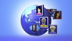 Global social network. Avatars around the world. Loops from 11 seconds onwards Stock Footage