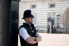 london - april 23: extra police officer posted outside of buckingham palace, - stock photo