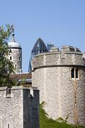 tower of london and new architecture - stock photo