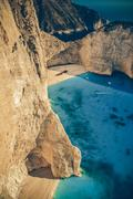 The world famous beach navagio in zakynthos, greece - vintage Stock Photos