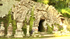 Elephant Cave in the Forest in Bali Stock Footage