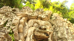 Elephant Cave ancient Sculpture in Bali Stock Footage