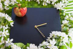 beautiful designer background with the sprigs of flowering apple-tree, clock - stock photo