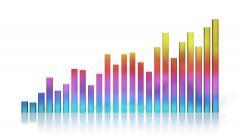 Bar graph. 24-column 3D chart. With luma matte (alpha channel). Stock Footage
