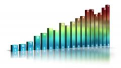 Bar graph. 18-column 3D chart, with labels. With luma matte (alpha channel). - stock footage