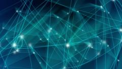 Abstract blue network of connected lines and dots. Loop between 9:00-18:00. Stock Footage