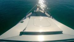 Motor boat bow onboard point-of-view travelling fish-eye wide angle. Stock Footage