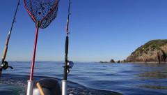 Gone fishing! Motor boat view looking back. Hauraki Gulf, New Zealand. Stock Footage