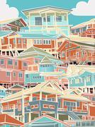 colorful housing - stock illustration