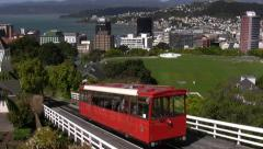 Cable Car in Wellington, New Zealand's capital city, known for steep hills. Stock Footage