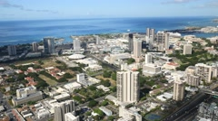 Aerial, downtown,honolulu, state capitol, building, oahu, hawaii. Stock Footage