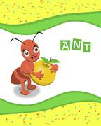 Ant from the collection of alphabet animals - stock illustration