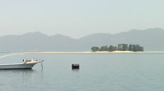Boat on the Lake Biwa in Japan Stock Footage