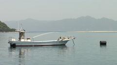Boat on Lake Biwa in Japan Stock Footage