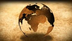 Vintage Rotating Globe And Map Of The World Background - stock footage