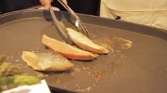 Salmon cooking on grill, cooked Japanese style Stock Footage