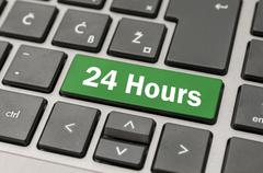 24 hours button - stock photo