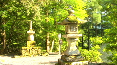 Street Lamp in Ancient Buddhist Temple in Japan Stock Footage