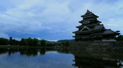 Twilight at Matsumoto castle, Japan. Stock Footage