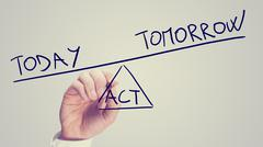 Act today or leave for tomorrow Stock Photos